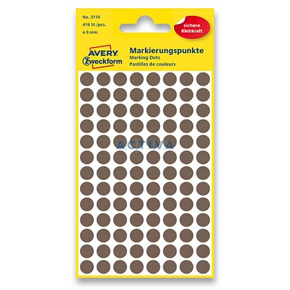 Obrázek produktu Avery Zweckform - kulaté etikety - průměr 8 mm, 416 etiket, hnědé