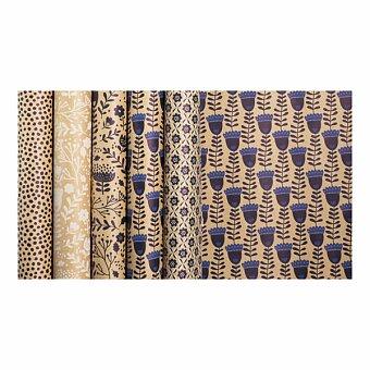 Obrázek produktu Dárkový balicí papír Kraft Blue - 2 x 0,7 m, mix motivů