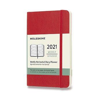 Obrázek produktu Diář Moleskine 2021 - měkké desky - S, týdenní, horizontální, červený