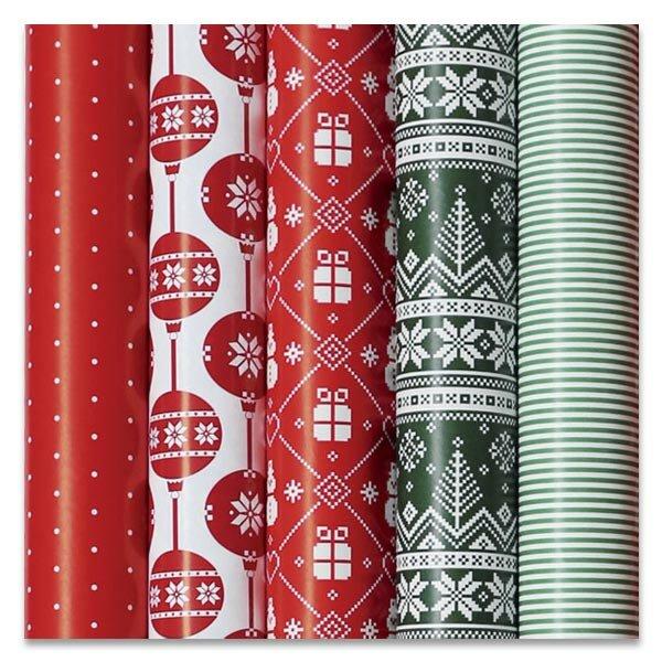 Dárkový balicí papír Christmas Red 2 x 0,7 m, mix motivů