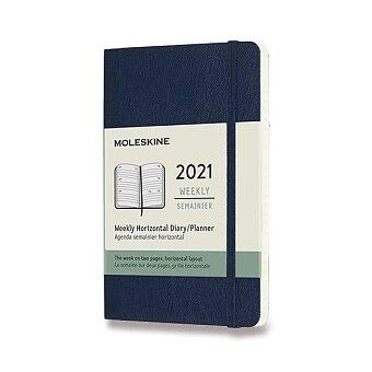 Obrázek produktu Diář Moleskine 2021 - měkké desky - S, týdenní, horizontální, modrý