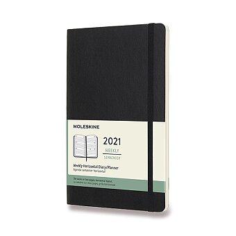 Obrázek produktu Diář Moleskine 2021 - měkké desky - L, týdenní, horizontální, černý