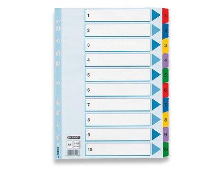 Obrázek produktu Papírový rozlišovač Esselte Mylar - A4, barevný, 1-10, 10 listů