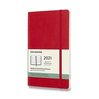 Obrázek produktu Diář Moleskine 2021 - měkké desky - L, týdenní, horizontální, červený