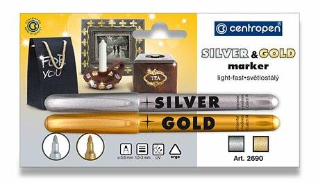 Obrázek produktu Sada popisovačů Centropen 2690 Gold & Silver - zlatý a štříbrný