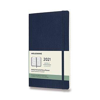 Obrázek produktu Diář Moleskine 2021 - měkké desky - L, týdenní, horizontální, modrý