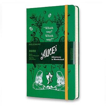 Diář Moleskine 2020 Alice In Wonderland, tvrdé desky - L, denní, zelený