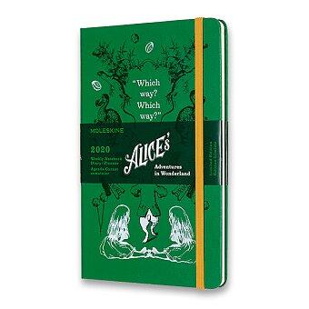 Obrázek produktu Diář Moleskine 2020 Alice In Wonderland, tvrdé desky - L, týdenní, zelený