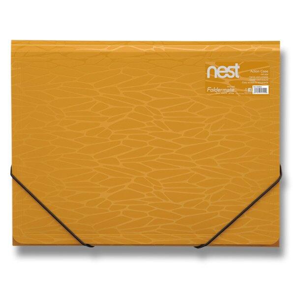 Tříchlopňové desky s gumou FolderMate Nest zlatožlutá