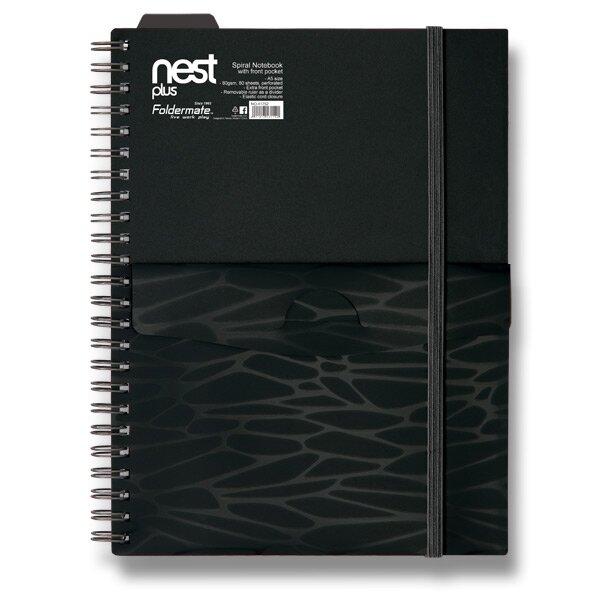 Spirálový blok s kapsou FolderMate Nest černý