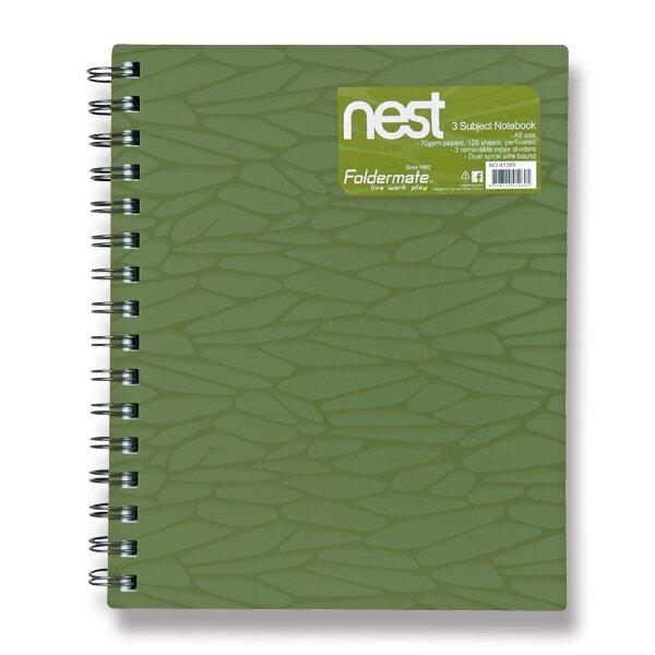 Spirálový blok FolderMate Nest olivově zelený