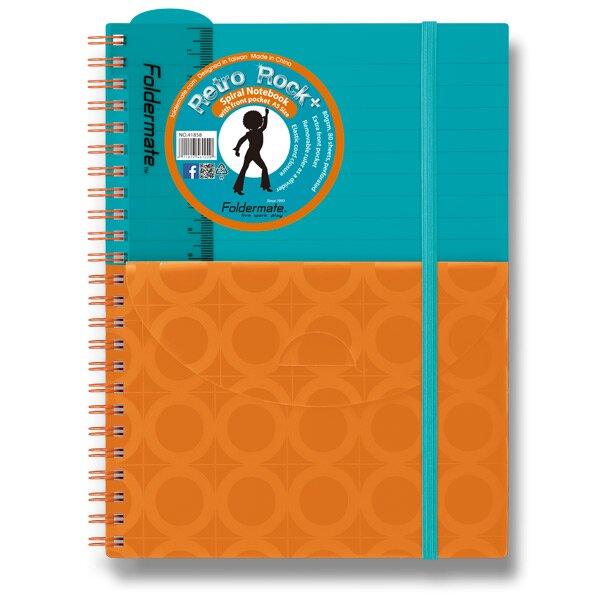 Spirálový blok s kapsou FolderMate Plus tyrkysovo/oranžový