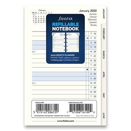 Obrázek produktu Filofax - náplň kapesní - měsíční kalendář 2020