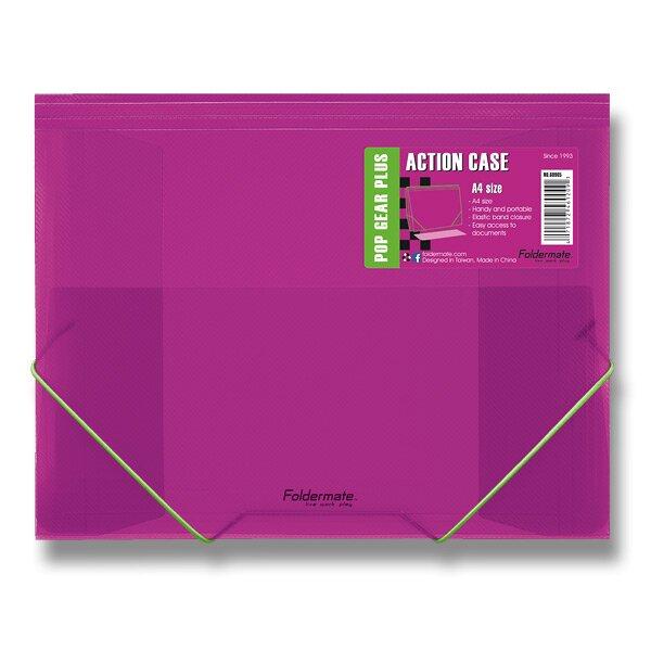 Tříchlopňové desky s gumou FolderMate Pop Gear Plus červená
