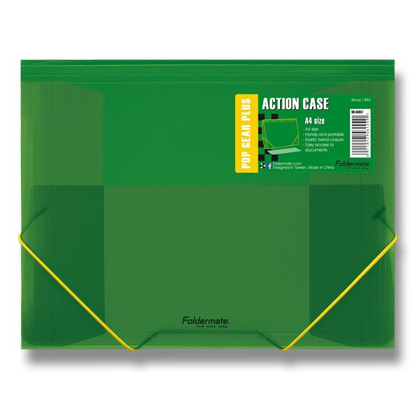 Tříchlopňové desky s gumou FolderMate Pop Gear Plus zelená