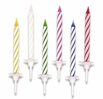 Obrázek produktu Dortové svíčky pruhované - 24 ks + 12 stojánků