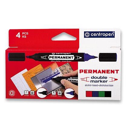 Obrázek produktu Centropen Double Marker 1666 - oboustranný permanentní značkovač - sada 4 ks