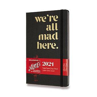 Obrázek produktu Diář Moleskine 2021 Alice In Wonderland - tvrdé desky - L, týdenní, černý