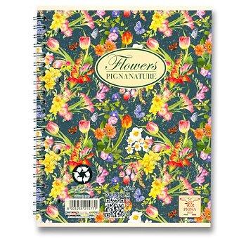 Obrázek produktu Kroužkový blok Pigna Nature Flowers - A4, čtverečkovaný, 60 listů, mix motivů