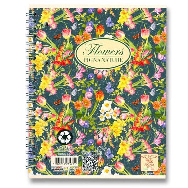 Kroužkový blok Pigna Nature Flowers A4, čtverečkovaný, 60 listů, mix motivů
