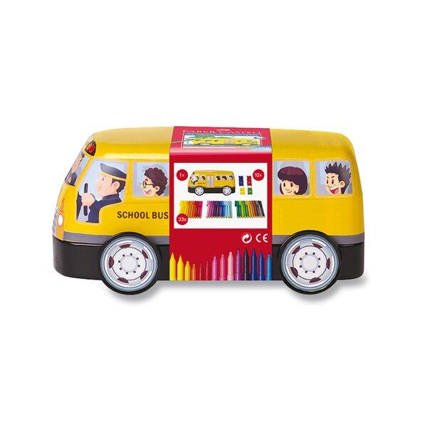 Dětské fixy Faber-Castell Connector plechový autobus, 33 barev