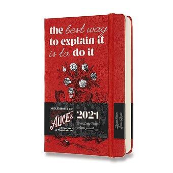 Obrázek produktu Diář Moleskine 2021 Alice In Wonderland - tvrdé desky - S, denní, červený