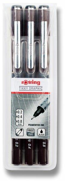 Souprava grafických linerů Rotring Tikky Graphic 0,2, 0,4 a 0,8 mm