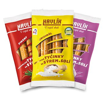Obrázek produktu Tyčinky se sýrem a solí Havlík - 90 g, výběr chutí