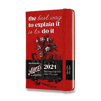 Obrázek produktu Diář Moleskine 2021 Alice In Wonderland - tvrdé desky - S, týdenní, červený