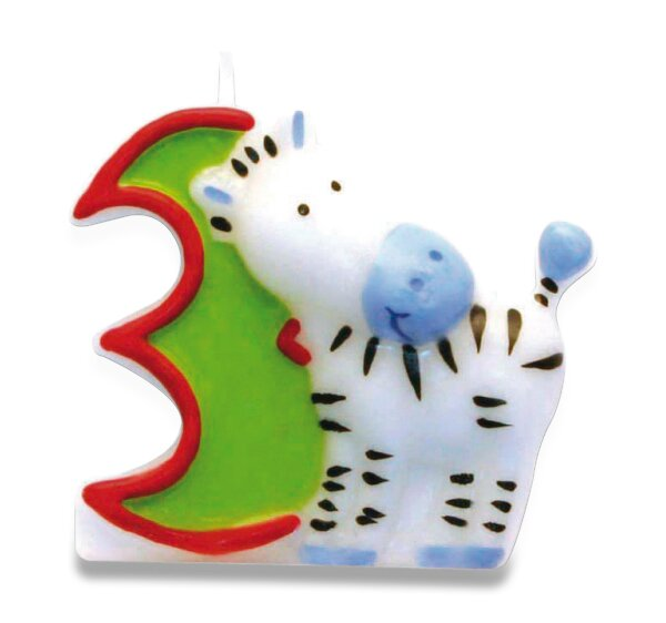 """Dortová číslová svíčka """"3"""", zebra"""