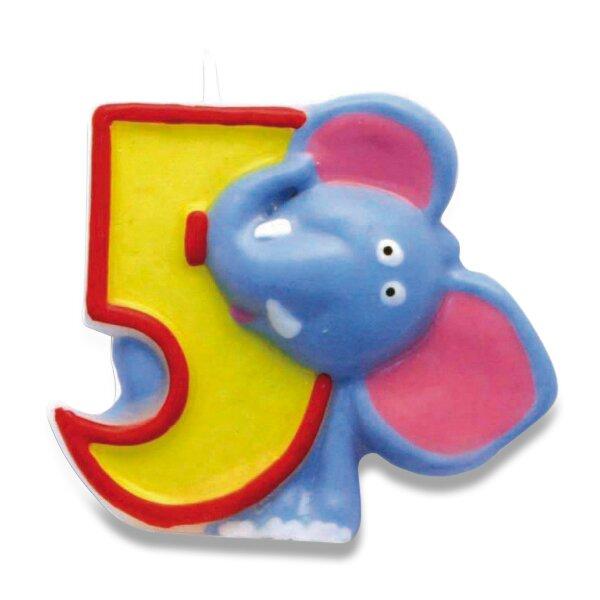 """Dortová číslová svíčka """"5"""", slon"""