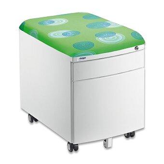 Obrázek produktu Pojízdný kontejner pro stoly Profi 3 a Junior - bílý korpus, sedací plocha čalouněná