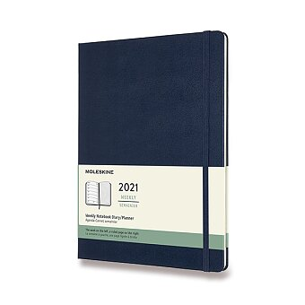 Obrázek produktu Diář Moleskine 2021 - tvrdé desky - XL, týdenní, modrý