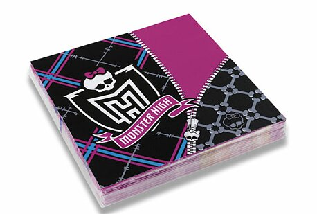 Obrázek produktu Papírové ubrousky Monster High - 33×33 cm, 20 ks