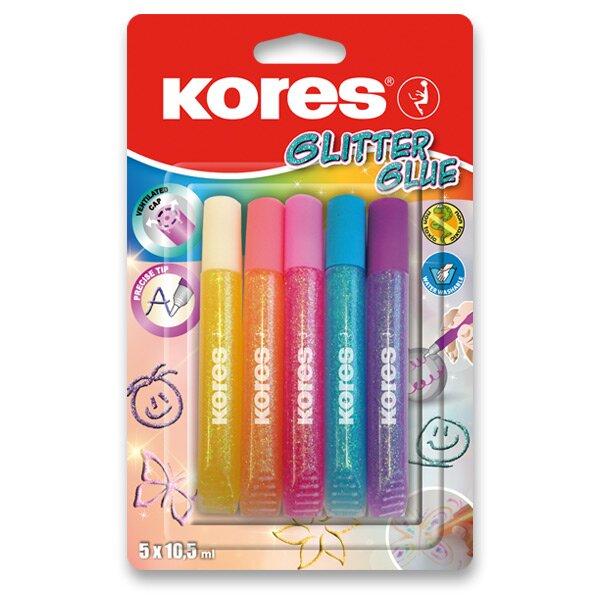 Dekorační lepidlo Kores Glitter Glue 5 x 10,5 ml, pastelové barvy