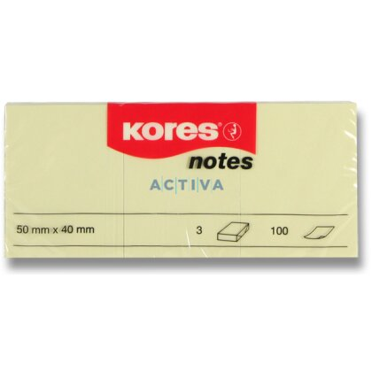 Obrázek produktu Kores - samolepicí bloček - 40×50 mm, 3×100 l.