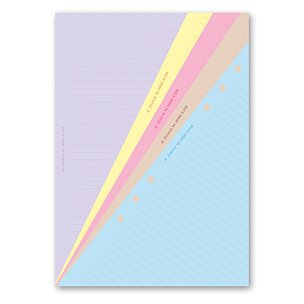 Poznámkový papír, linkovaný, 5 barev