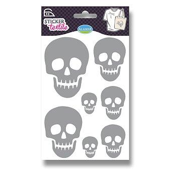 Obrázek produktu Nažehlovací nálepky na textil - Lebky - glitrové