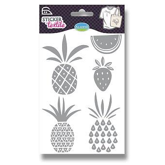 Obrázek produktu Nažehlovací nálepky na textil - Koktejlové ovoce - glitrové