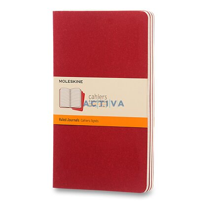 Obrázok produktu Zošit Moleskine Cahier - 13 x 21 cm , linajkový, 3 ks, červený