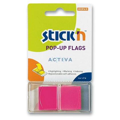 """Obrázek produktu Hopax Stick'n PopUp Flags - neonové proužky """"Z"""" - růžové"""