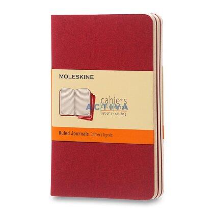 Obrázek produktu Sešit Moleskine Cahier - 9 x 14 cm, linkovaný, 3 ks, červený