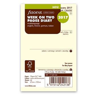 Obrázek produktu Týdenní kalendář 2017, Aj, krémový - náplň mini diářů Filofax