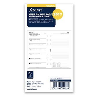 Obrázek produktu Týdenní kalendář 2017, 5 jazyků, týden-strana - náplň osobních diářů Filofax