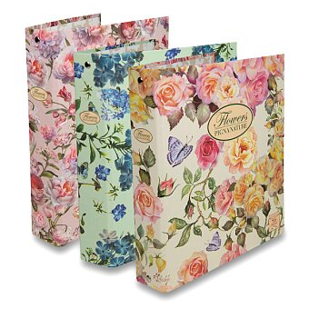 Obrázek produktu 4-kroužkový pořadač Pigna Nature Flowers - karton, A5, 35 mm, mix motivů