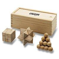 Dřevěné hlavolamy v dárkovém boxu