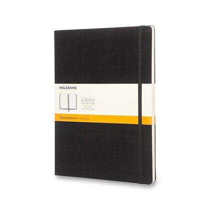 Obrázok produktu Moleskine - zápisník v tvrdých doskách - veľ. XL, 19 × 25 cm, linajkový, čierny