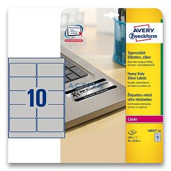 Obrázek produktu Stříbrné samolepicí PET etikety Avery Zweckform - 96,0 x 50,8 mm, 200 etiket