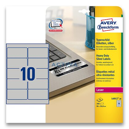 Obrázek produktu Avery Zweckform - stříbrné PET etikety - 96,0×50,8 mm, 200 etiket