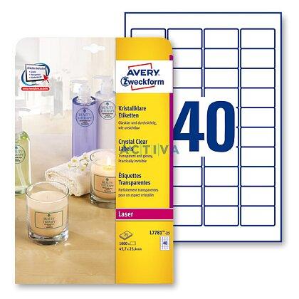 Obrázek produktu Avery Zweckform - samolepicí čiré etikety - 45,7 × 25,4 mm, 1000 etiket